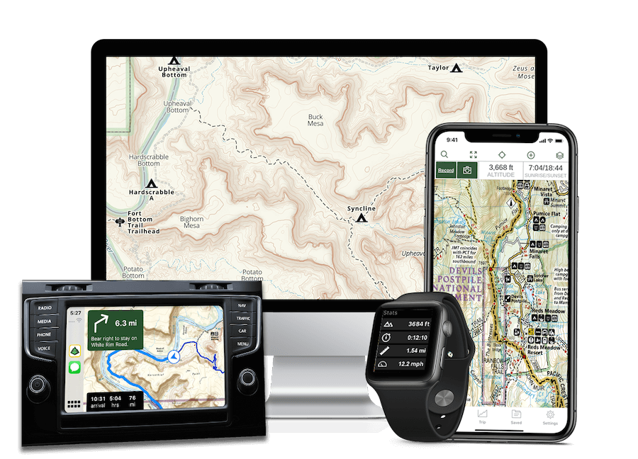 Gaia GPS is available on iOS, Android, web, Android Auto, and Apple Watch.