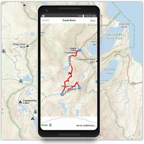A route being measured on a map in the Gaia GPS app.
