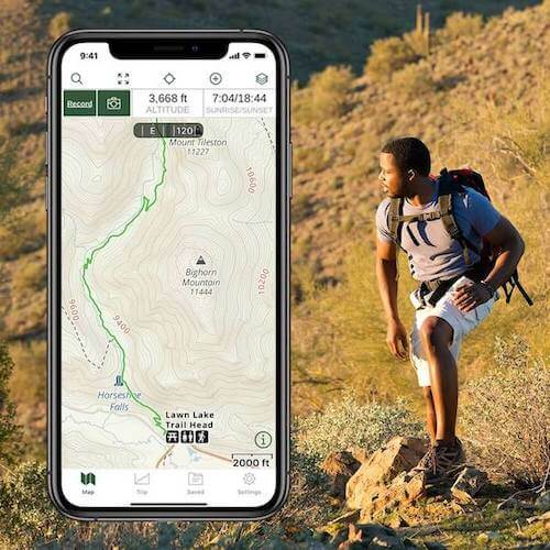 Man hiking and a picture of the Gaia GPS app.